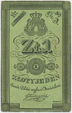 Powstanie listopadowe, 1 złoty 1831 Głuszyński - gruby papier
