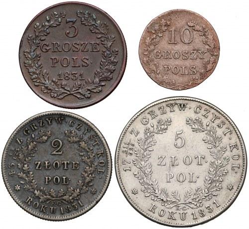 Powstanie Listopadowe, 3 grosze - 5 złotych 1831 KG (4szt)