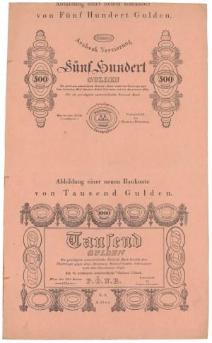 Austria, Formularz 500 i 1.000 gulden 1825