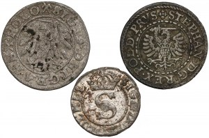 Zygmunt I i III, Stefan Batory, Szelągi 1540, 1579 i 1623 (3szt)