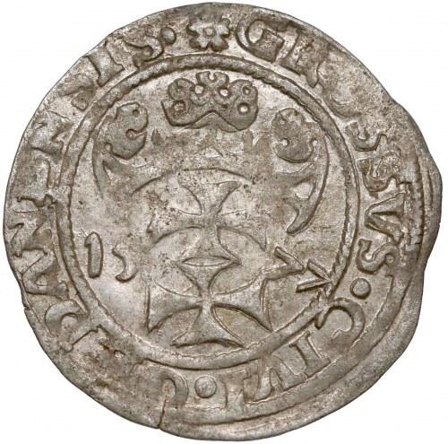 Oblężenie Gdańska, Grosz 1577 - Tallemann - Kawka na Aw.