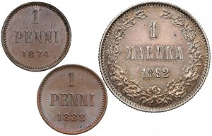 Finlandia / Rosja, 1 penni - 1 marka 1874-1892 (3szt)