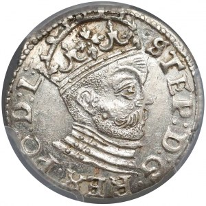Stefan Batory, Trojak Ryga 1585 - mała głowa - piękny