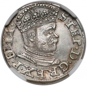 Stefan Batory, Trojak Ryga 1586 - mała głowa