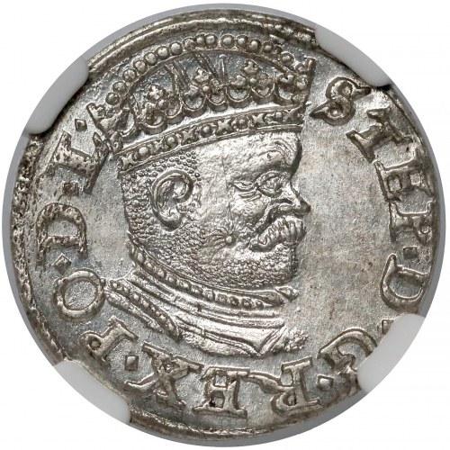 Stefan Batory, Trojak Ryga 1586 - mała głowa - PIĘKNY