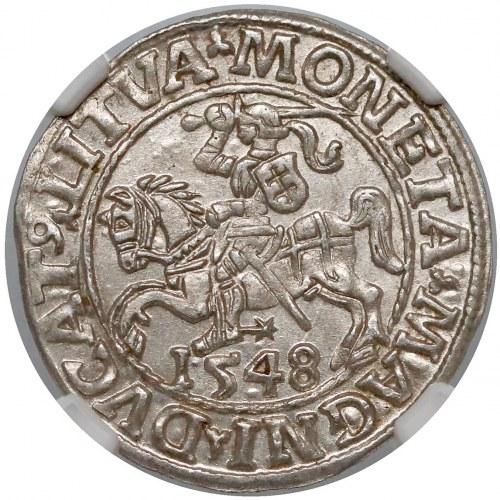 Zygmunt II August, Półgrosz Wilno 1548 - rzymska - piękny