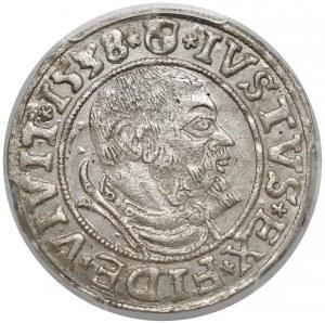 Albrecht Hohenzollern, Grosz Królewiec 1538 - 9 piór