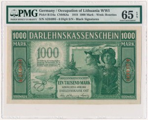 Kowno, 1.000 marek 1918 - numeracja 6-cyfrowa