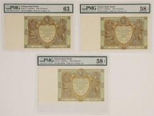 50 złotych 1929 - PMG 63-58 (3szt)