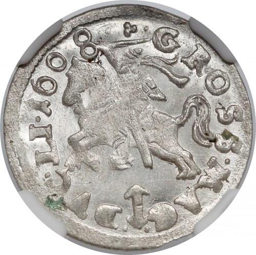 Zygmunt III Waza, Grosz Wilno 1608 - późny - piękny