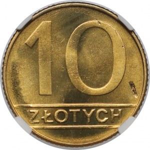 Destrukt 10 złotych 1990 - uszkodzenie stempla Rw.