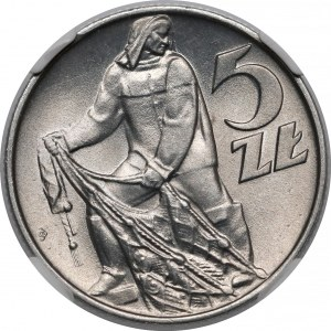 Destrukt 5 złotych 1974 Rybak - skrętka i końcówka blachy