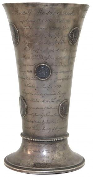 Puchar dla R. Modrzejewskiego zdobiony ZŁOTYMI i srebrnymi monetami