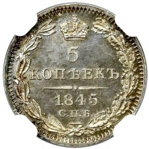 Rosja, Mikołaj I, 5 kopiejek 1845 КБ - NGC MS66+