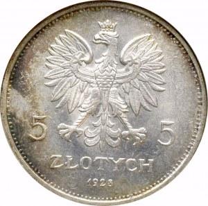 II Rzeczpospolita, 5 złotych 1928 Nike - NGC MS64
