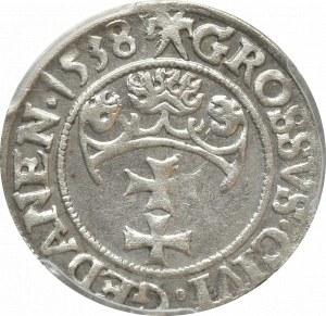 Zygmunt I Stary, Grosz 1538 Gańsk - PCGS AU58