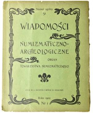 Wiadomości Numizmatyczno-Archeologiczne, kompletny rok 1902 nr 1,2 i 3, 4