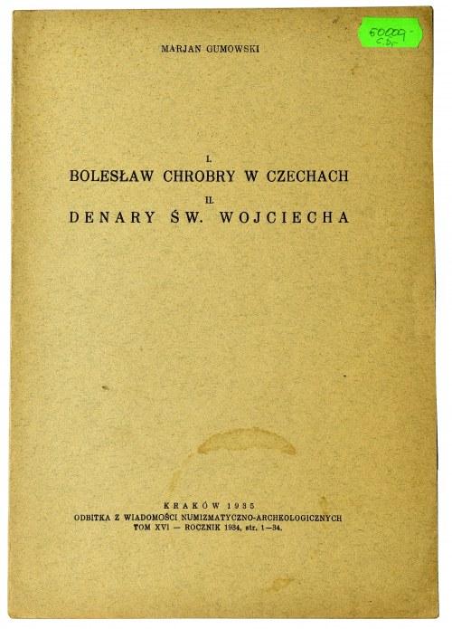 Marian Gumowski, Bolesław Chrobry w Czechach, Denary Św. Wojciecha