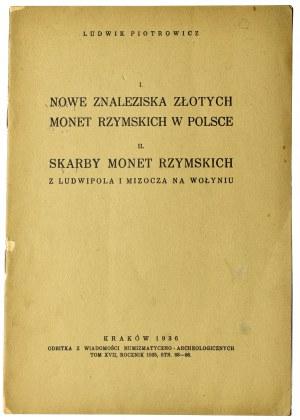 Ludwik Piotrowicz, Nowe znaleziska złotych monet rzymskich w Polsce