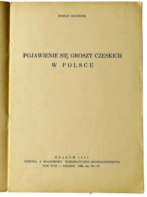 Roman Grodecki, Pojawienie się groszy czeskich w Polsce