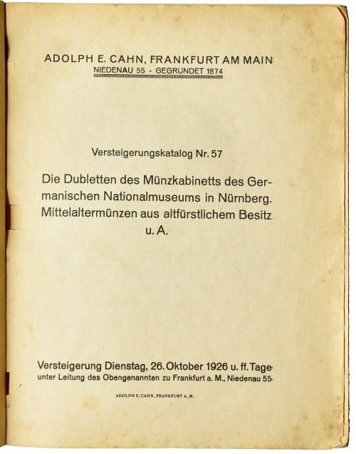 Adolph E. Cahn, Münzen und Medaillen aus dem Besitz des Germanischen Nationalmuseums in Nürnberg