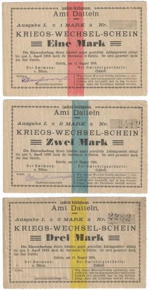 Niemcy, zestaw bonów 1,2,3 marki 1914