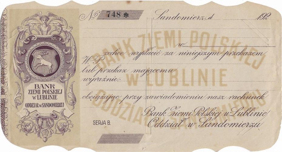 Bank Ziemi Polskiej w Lublinie, czek