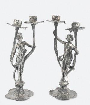 Argentor-Werke RUST & HETZEL (czynna 1902-ok. 1970), Para świeczników dwuświecowych secesyjnych