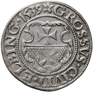 Zygmunt I Stary, grosz 1539, Elbląg, miecz w prawej dłoni Orła (R2)