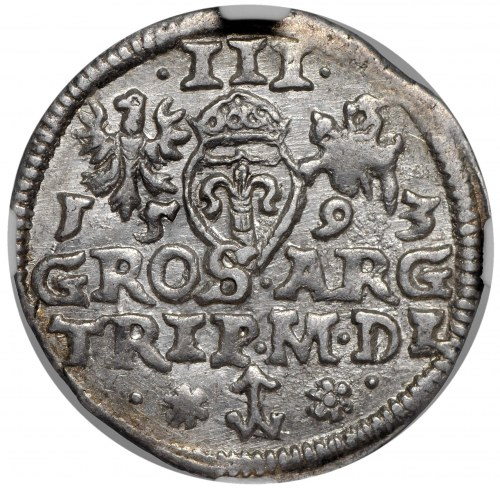 Zygmunt III Waza, trojak 1593, Wilno, końcówka napisu na awersie LI.