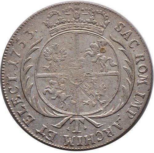 August III, tymf 1753, Lipsk, litera S pod popiersiem (R4)