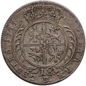 August III, pruskie naśladownictwo, ort (18 groszy) 1755 B, Wrocław