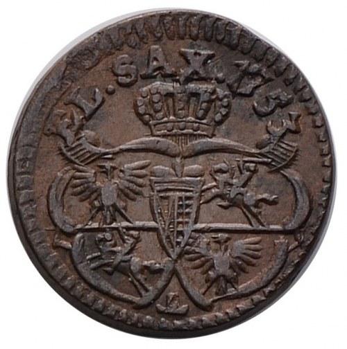 August III, szelag 1753, odwrócone T, Gubin