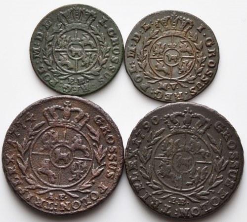Stanisław August Poniatowski, zestaw 4 monet miedzianych, w tym trojak 1774 AP