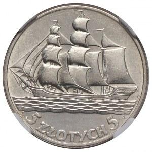 II Rzeczpospolita, 5 złotych 1936 żaglowiec