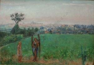 Wlastimil Hofman (1881-1970), Spotkanie z aniołem [Widok Krakowa z pracowni artysty]