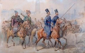 Juliusz Kossak (1824 Nowy Wiśnicz - 1899 Kraków) - Czterech Kozaków w pochodzie, 1898 r.