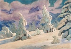 Władysław Skoczylas (1883 Wieliczka – 1934 Warszawa) - Jodły w śniegu (Pejzaż zimowy), ok. 1910–14