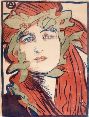 """Teodor Axentowicz (1859 Braszów/Rumunia - 1938 Kraków) - Plakat II Wystawy Towarzystwa Artystów Polskich """"Sztuka"""", 1898 r."""