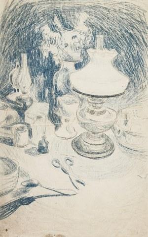 Stanisław Kamocki (1875-1944), Martwa natura z lampą naftową, nożyczkami i naczyniami stołowymi, [ok. 1895]