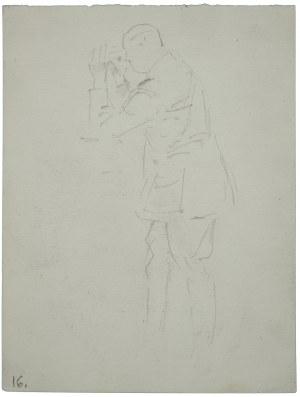 Wojciech Kossak (1856-1942), Oficer stojący obserwujący [przedpole] przez lornetkę - szkic