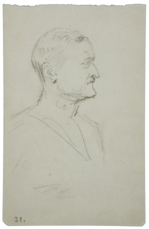 Wojciech Kossak (1856-1942), Portret oficera w średnim wieku, ujęty z prawego profilu – szkic