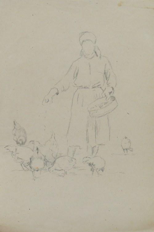 Ludwik Maciąg (1920-2007), Szkic wieśniaczki karmiącej kury