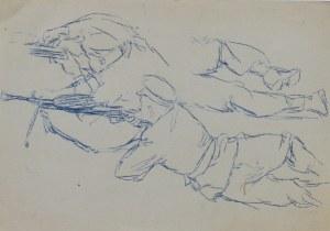 Ludwik Maciąg (1920-2007), Szkic leżących żołnierzy strzelających z karabinów maszynowych
