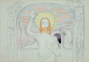 Włodzimierz Tetmajer (1861 – 1923), Chrystus Zmartwychwstały – szkic projektu obrazu ołtarzowego (?) z ozdobną ramą, 1900