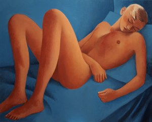 Juliusz Martwy, Orange on blue nude, 2018