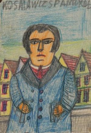 Nikifor KRYNICKI (1895-1968), Mężczyzna w niebieskim płaszczu