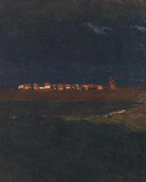 Ferdynand RUSZCZYC (1870-1936), Wieś o zachodzie [Wieś nocą], 1897
