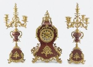 SAMUEL MARTI & Cie, Zegar kominkowy, neorokokowy, z parą kandelabrów