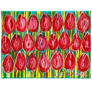 Edward Dwurnik (ur. 1943), Tulipany czerwone, 2018, 30 x 40 cm